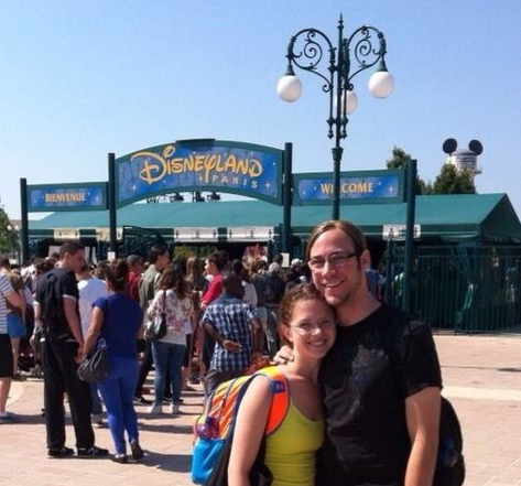 Megan and Casey at the Disneyland-Paris entrance.