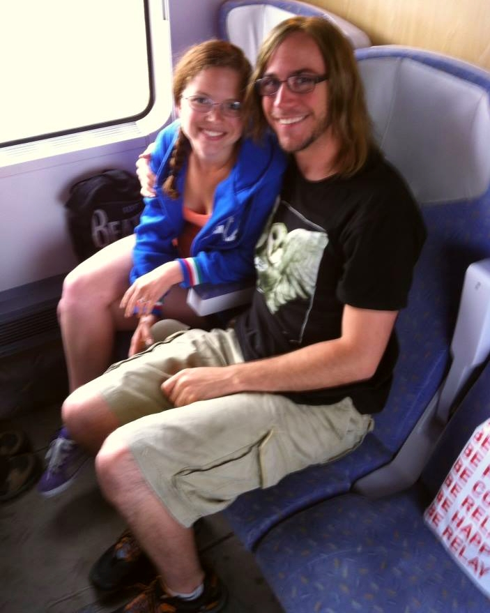 Megan and Casey on train