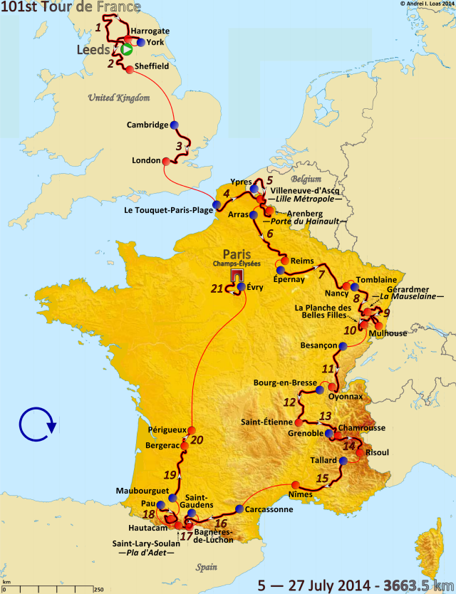 Route of the 2014 Tour de France. (Wikimedia Commons)