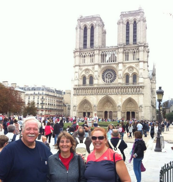 Gerry, Deb, and Tracy in front of the Cathédrale Notre Dame de Paris