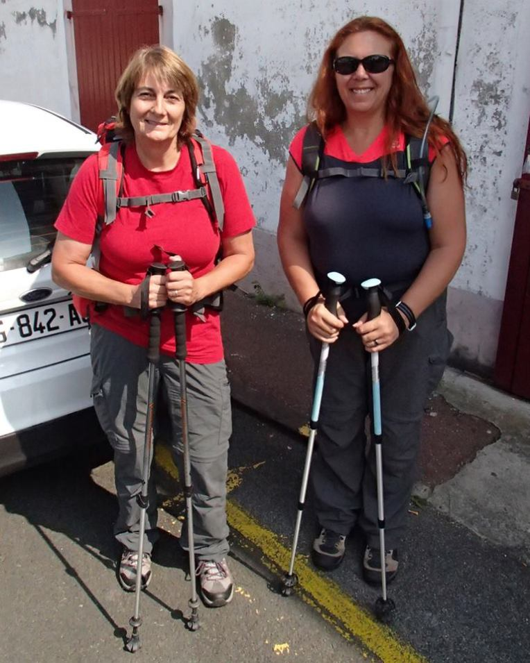 Deb and Tracy in St. Jean-Pied-de-Port at the start of the French route of the Camino de  Santiago.