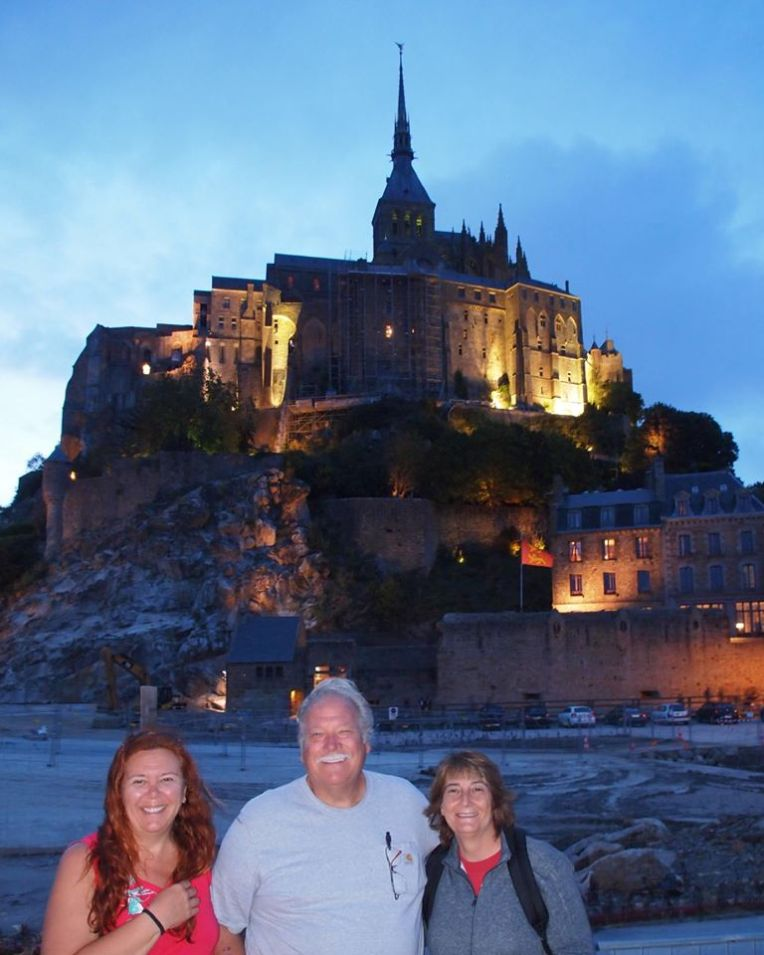 Tracy, Gerry, and Deb at Mont Saint-Michel, Normandy, France