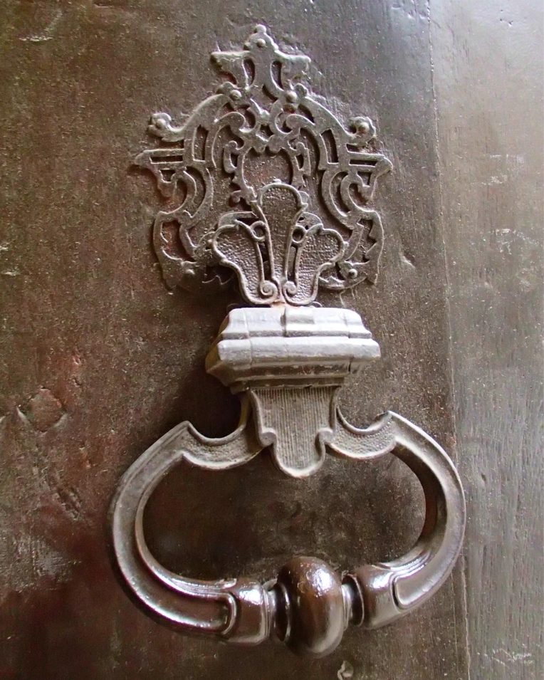 Antique door knocker outside the Mairie (Town Hall.)