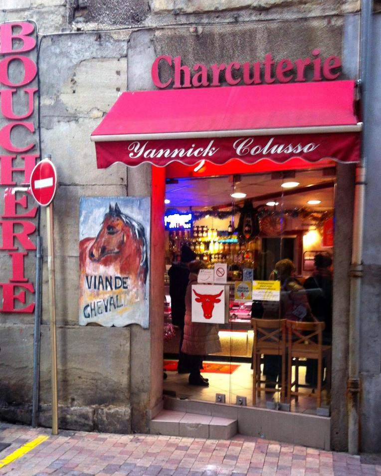 A Boucherie-Charcuterie on the Rue de Verdun. The sign in front advertises the availability of horse steak.