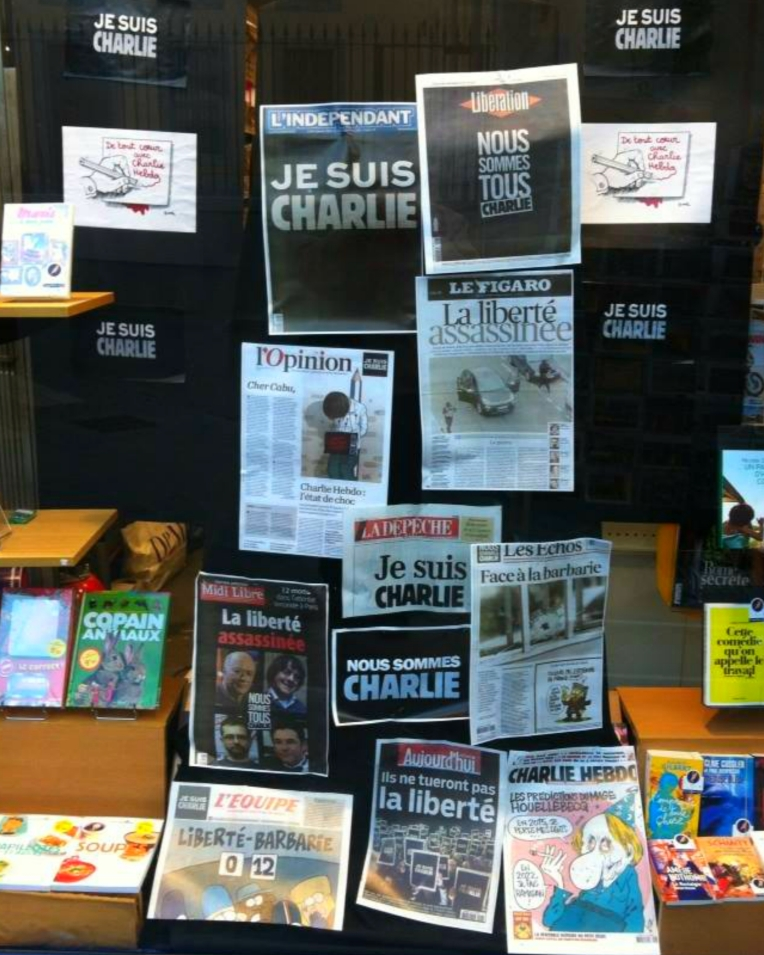 Newspaper shop display for #JeSuisCharlie