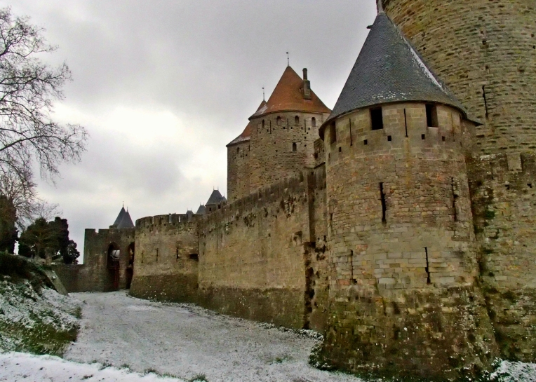 Light snow in the moat surrounding le Cité de Carcassonne.