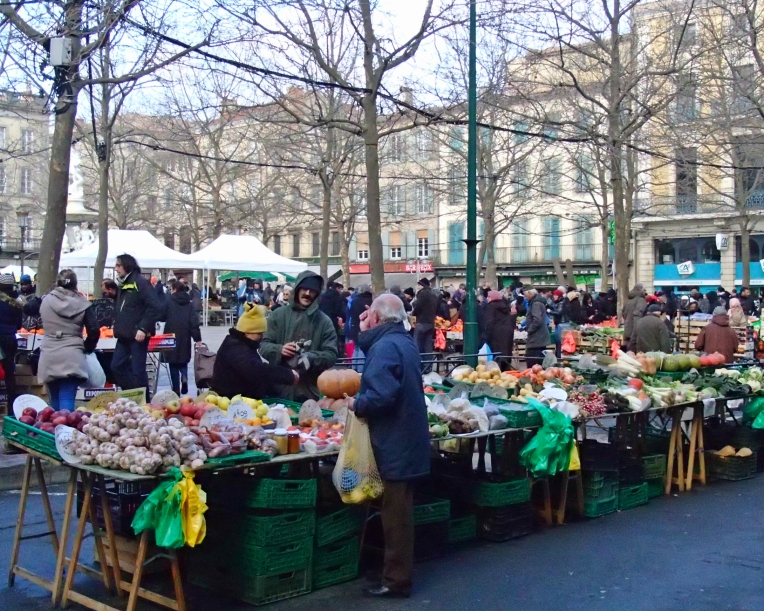 Open-air market in Place Carnot, the town square.