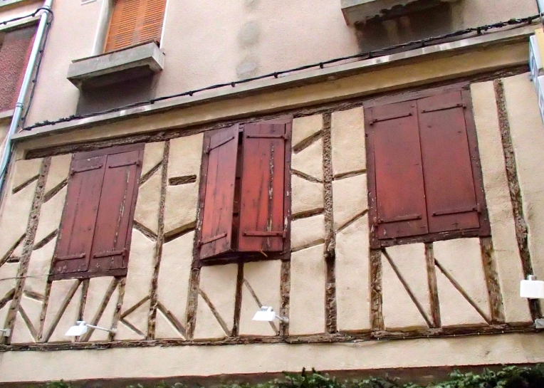 "Building with traditional exposed ""pan de bois"" half-timbered framing on the Rue Georges Clemenseau"