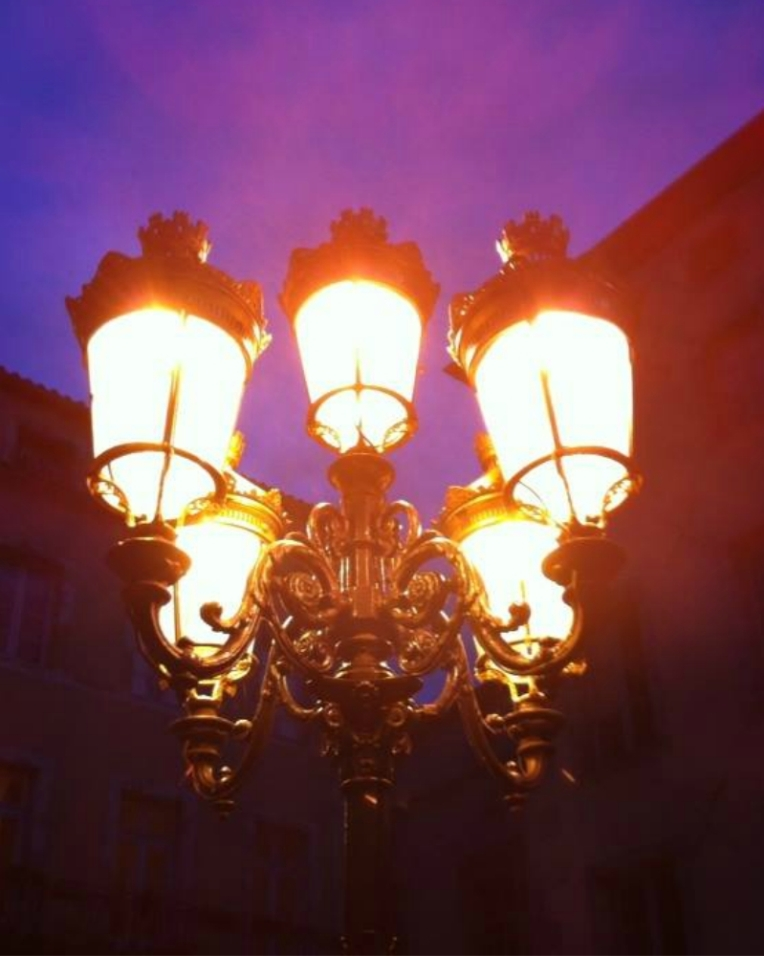 Lamps at Place Carnot (the town square.)