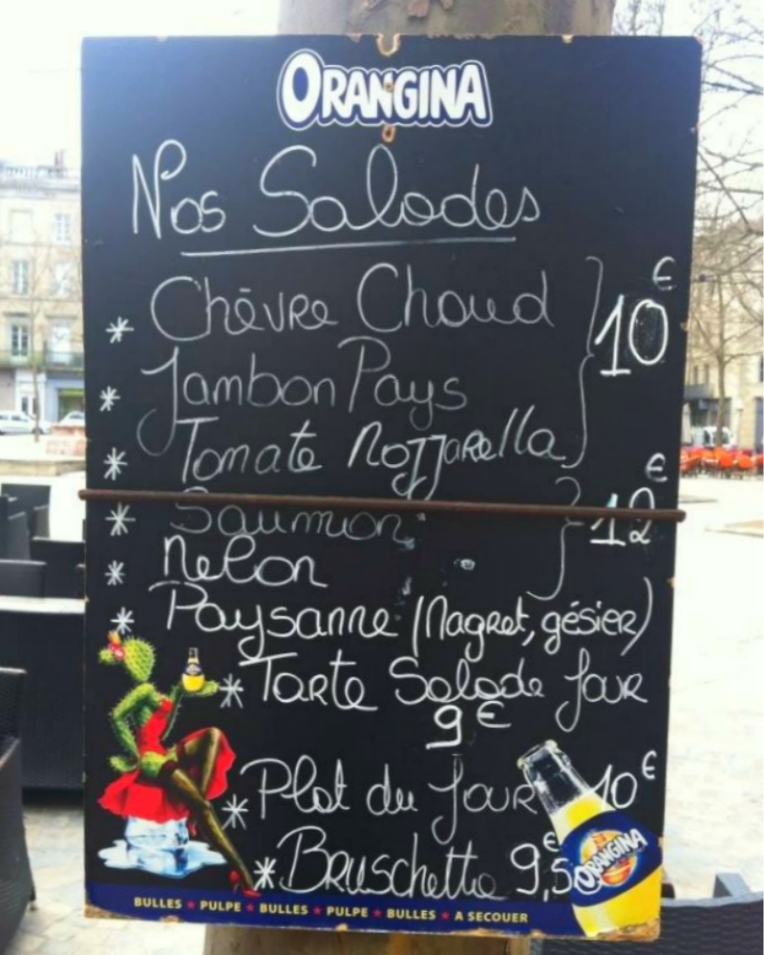 Menu board from Briocherie-Pâtisserie Arpin on Place Carnot (the town square).