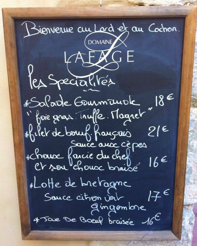 Menu board from Lard et au Cochon restaurant on Rue Denisse.