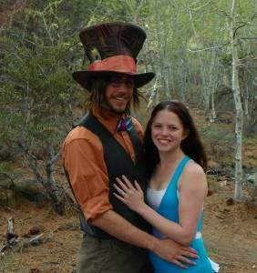 Casey and Megan as The Mad Hatter and Alice; a unique proposal.