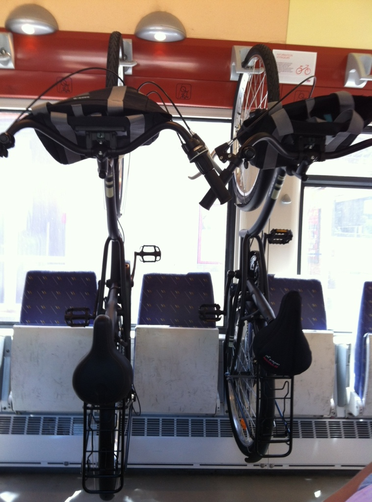 The bikes in racks on the train from Perpignan to Argeles-sur-Mer.