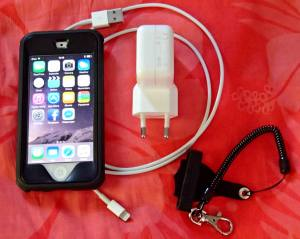 iPod 5 with charger, protective case, and leash.
