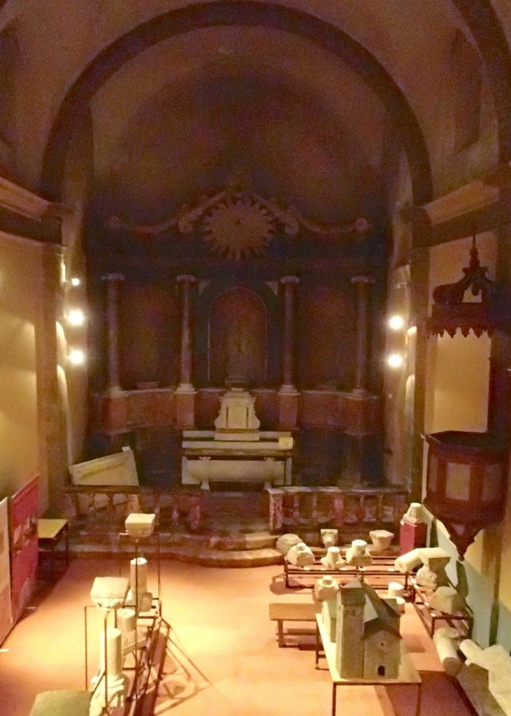 The interior of Nostra Senyora de Rodona housing a small museum.