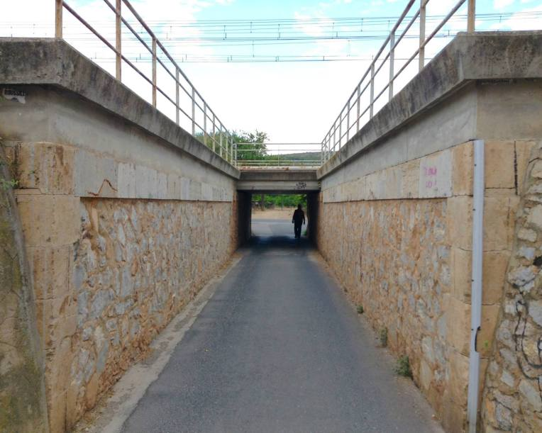 Pedestrian underpass for train tracks.