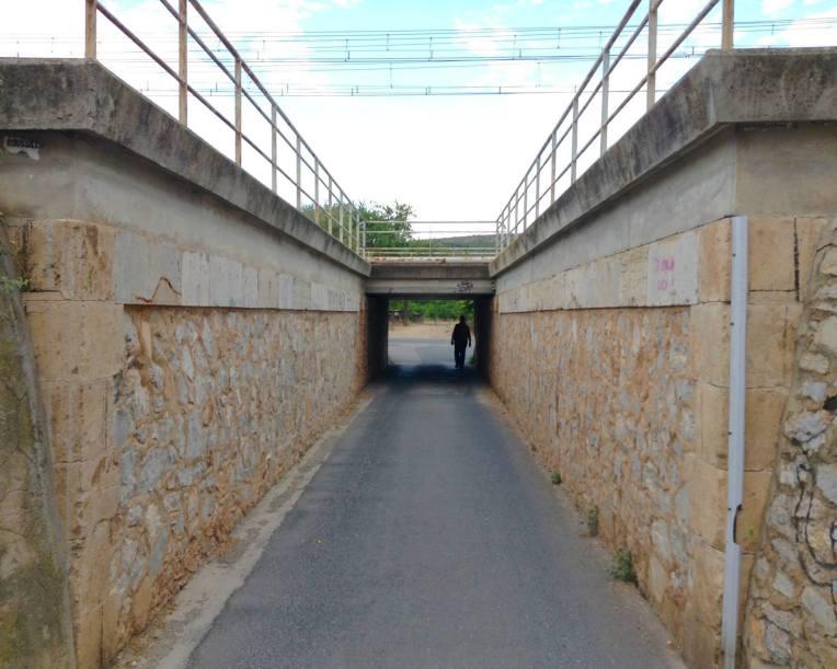 Pedestrian underpass for train tracks.