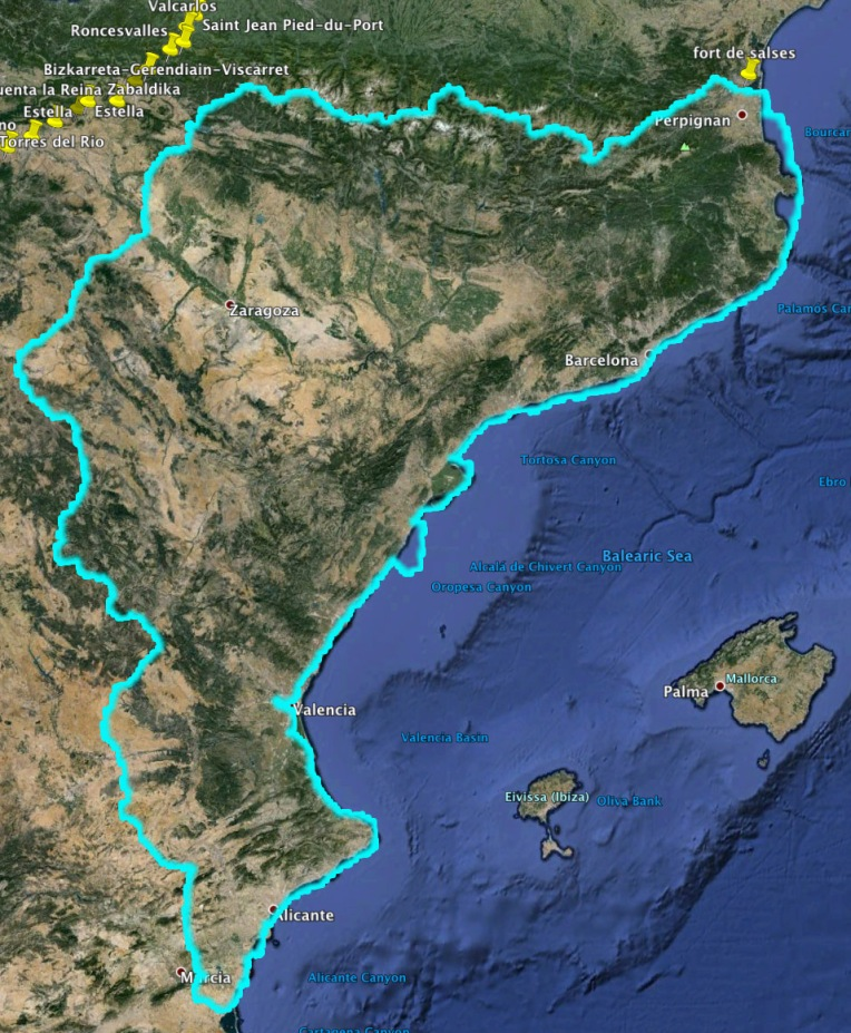 The Kingdom of Aragon in 1496, Forteresse de Salses is on the northernmost point.