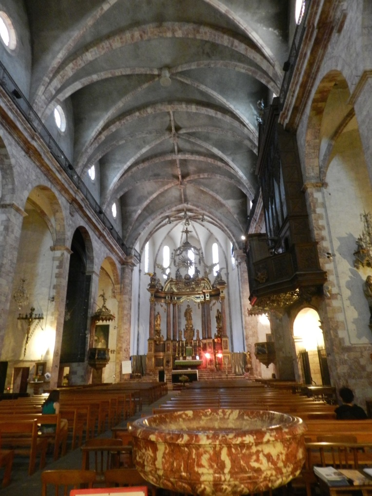 The current interior of St. Etienne. The original church would have been