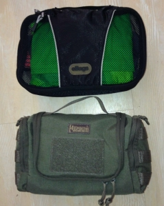 eBags packing cube and Maxpedition Aftermath Compact Toiletries Bag