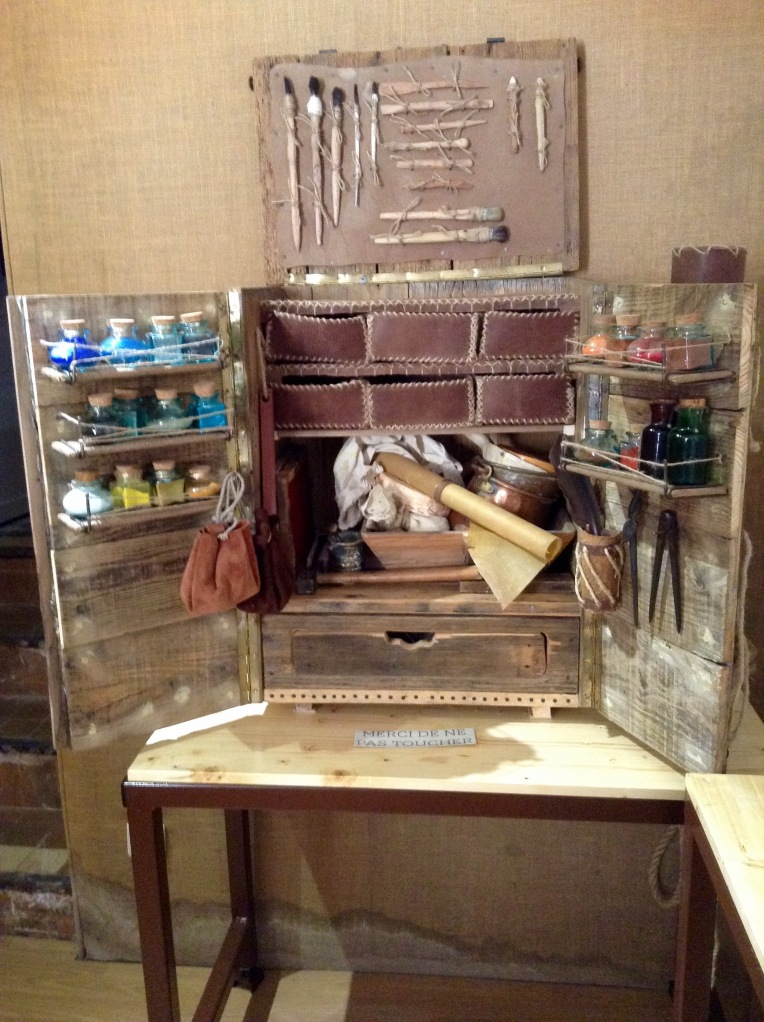 Display of antique restoration tools in the reception area.