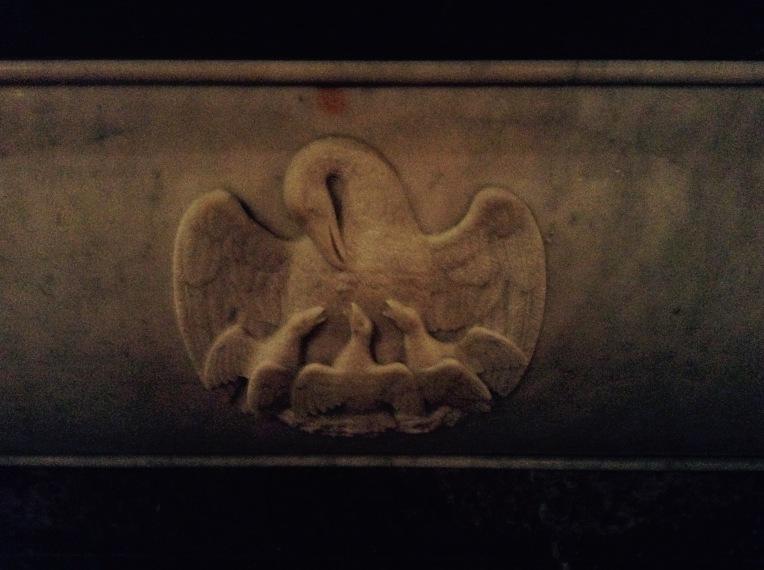 Altar detail of doves.