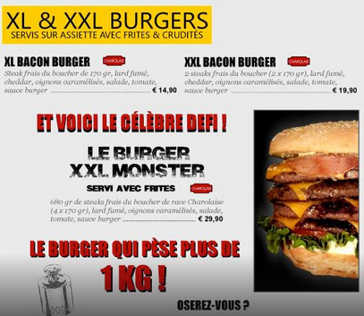 The XL, XXL and Monster Burger menu.