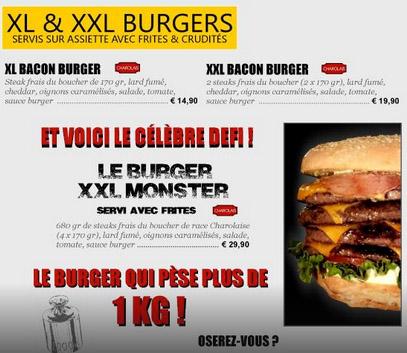 The XL, XXL and Monster Burger menu.