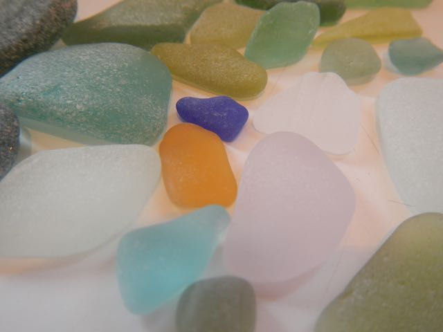 Sea glass in greens, blues, ambers and one piece of lavender
