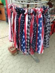 One of the many vendors selling items with the Stars and Strioes