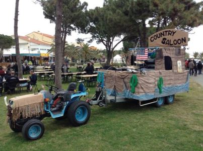 Tractor and band stand