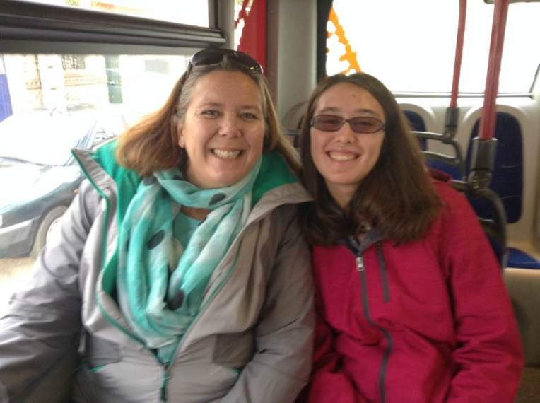 Tracy and Etta on the municipal bus in Perpignan, France.
