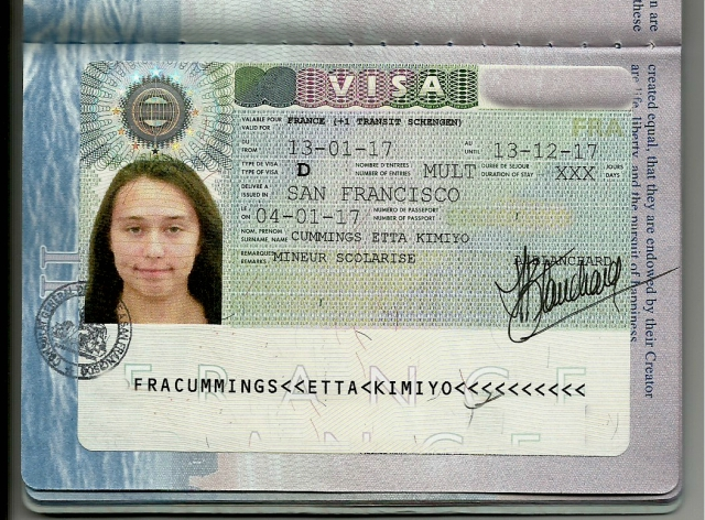 Etta's Student Visa with numbers obscured.