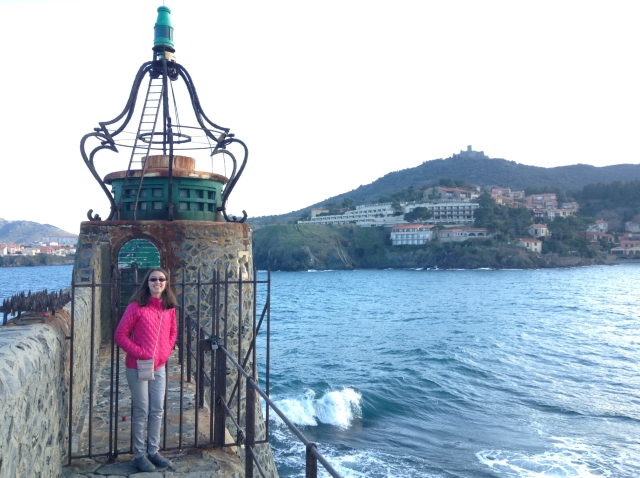 Etta on the breakwater in Collioure, France