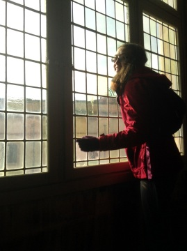 Etta looking into the outer courtyard from the Queen's apartment