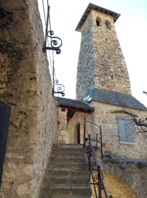 Staircase to the battlements, church to the right