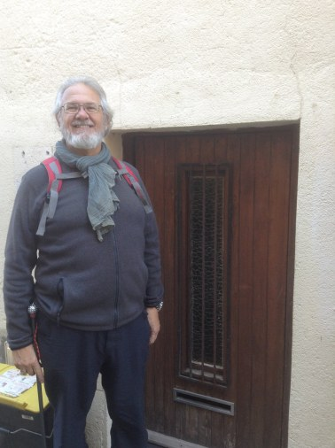 Alan near the front door of a house near the abbey, people were shorter when this place was built!