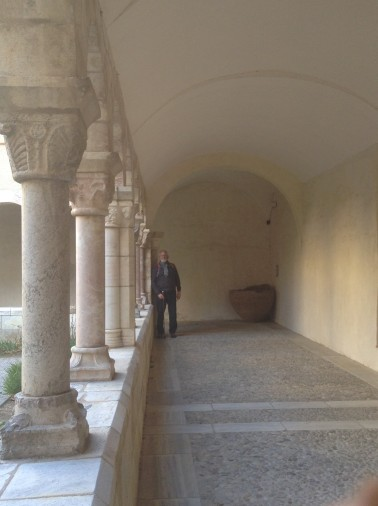 Alan at the end of the colonnade near the Dolium
