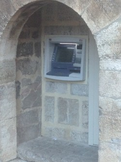 ATM built into an old entryway