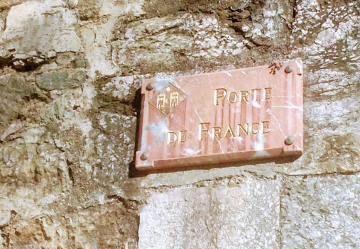 Name plate for the French gate